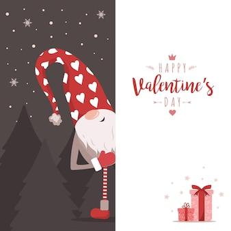 Walentynkowy gnom z dużym szyldem. śliczny mały elf na czerwono z sercami.