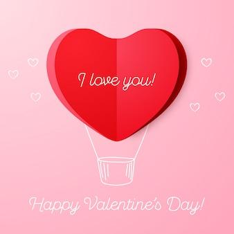 Walentynkowy powitanie z papierowym gorące powietrze balonem