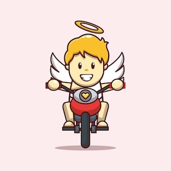 Walentynkowy projekt słodkiego kupidyna jadącego na motocyklu