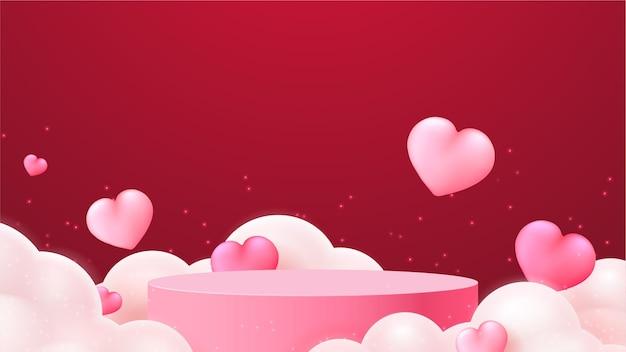 Walentynkowy wyświetlacz podium. prezentacja produktów na stoisku. realistyczny styl 3d.