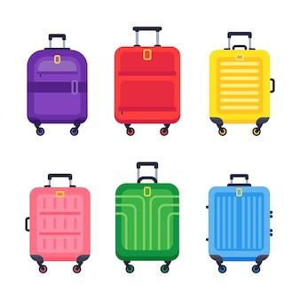 Walizka bagażowa. lotnisko podróżne kolorowe walizki plastikowe z uchwytem i wózkiem na białym tle płaski zestaw