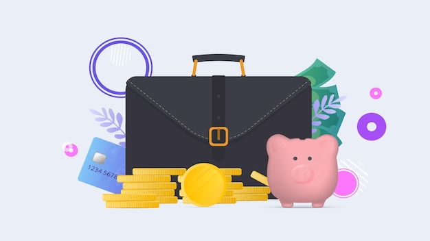 Walizka biznesowa, brązowy portfel z kartami kredytowymi i złotymi monetami. męska walizka z kartami bankowymi. pojęcie oszczędności i akumulacji pieniędzy.