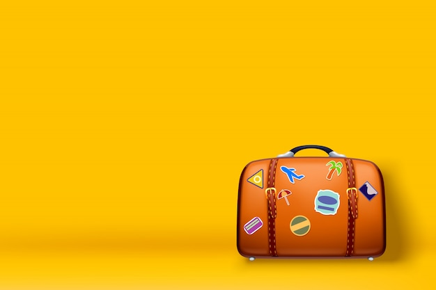 Walizka podróżna na żółto