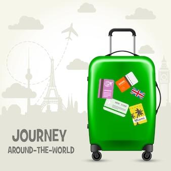Walizka z metkami podróżnymi i europejskimi zabytkami - plakat turystyczny