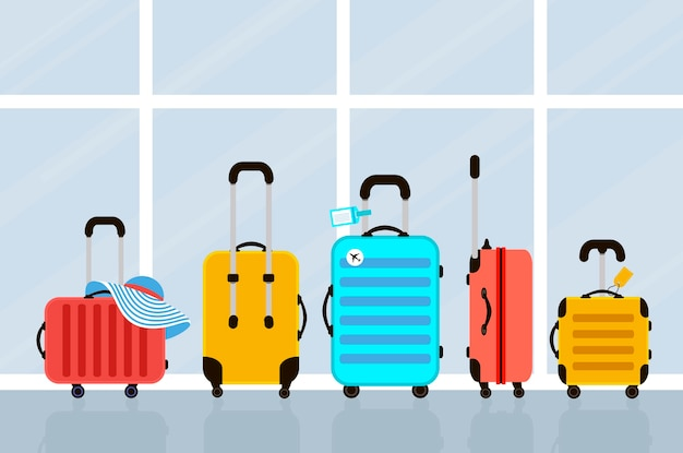 Walizki na ilustracji lotniska