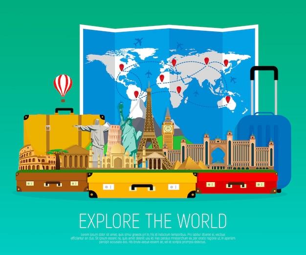 Walizki z charakterystycznymi punktami i złożoną mapą świata.