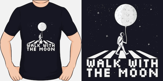 Walk with the moon. unikalny i modny design koszulki