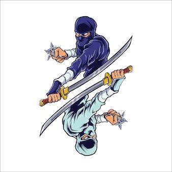 Walka ninja shinobi logo ilustracja