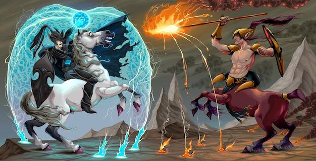 Walka sceny między mrocznym elfem a centaurem fantasy ilustracji wektorowych