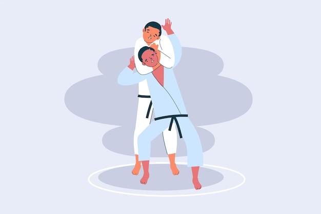 Walka sportowców jiu-jitsu