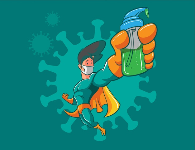 Walka superbohaterów przeciwko ilustracji koronawirusa