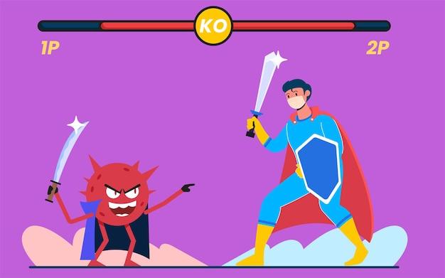 Walka z atakami wirusów, nowoczesna koncepcja projektowania płaskich ilustracji dla stron internetowych lub tła