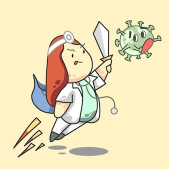Walka z koroną lekarz dziewczyna długie czerwone włosy imbir kreskówka wektor ilustracja