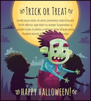 Walking zombie cartoon na tle nieba w pełni księżyca szczęśliwy plakat halloween cukierek albo psikus ilustracja karty z pozdrowieniami