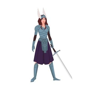 Walkiria lub mitologiczna wojowniczka trzymająca miecz na białym tle