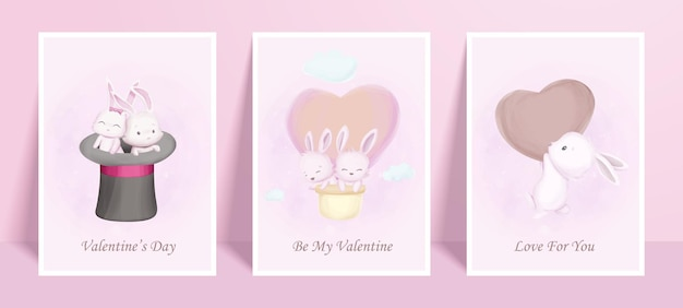 Wall art print cute animal poster bunny valentine day