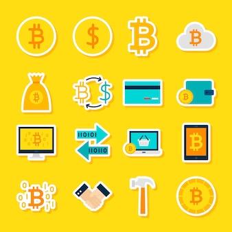 Waluty bitcoin naklejki. ilustracja wektorowa płaski. zbiór symboli finansowych.
