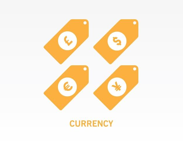 Waluty dolara, euro, funta szterlinga i symbol jena