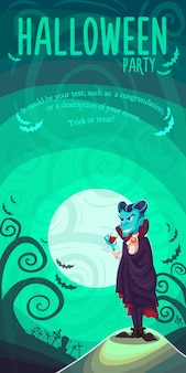 Wampir dracula na plakat halloween