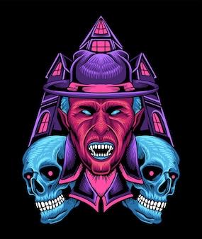 Wampir halloween skull castle