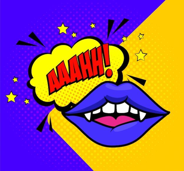Wampir halloween usta w stylu pop-art