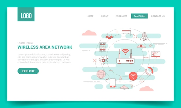 Wan koncepcja sieci rozległej z ikoną koła dla szablonu strony internetowej lub wektora strony głównej strony docelowej