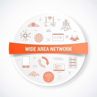 Wan koncepcja sieci rozległej z koncepcją ikony z wektorem kształtu okrągłego lub okrągłego