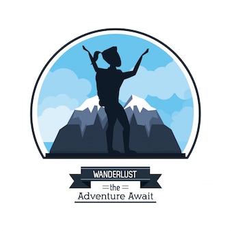 Wanderlust przygoda czeka z pielgrzymką kobieta arywista