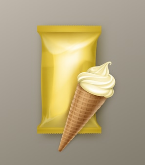 Waniliowy bananowy miękki stożek waflowy do lodów z żółtą folią z tworzywa sztucznego dla pakietu brandingowego z bliska na tle