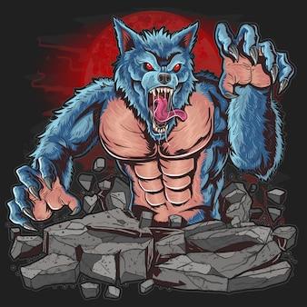 Warewolf w ciemnej nocu pod wilką wojową wilk