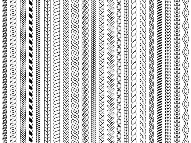 Warkoczy wzór. ozdobne warkocze dziewiarskie kabel mody struktury tekstylne wektor wzór.