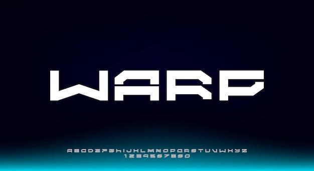 Warp, abstrakcyjny i odważny futurystyczny krój pisma. czcionka alfabetu z motywem technologii. nowoczesna minimalistyczna typografia