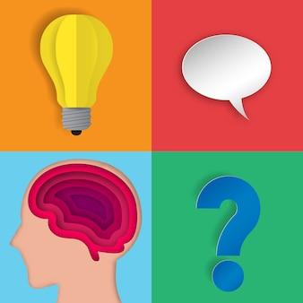 Warstwa ludzkiego mózgu z ikoną papieru ikony