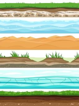 Warstwy gleby campo ziemi powierzchni ziemi trawy wysuszona pustynna piasek woda. zestaw bez szwu poziomów terenu