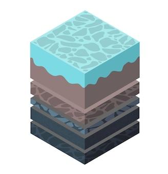 Warstwy gleby geologiczne i podziemne pod wycinkiem izometrycznym krajobrazu przyrodniczego