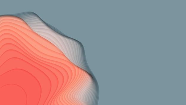 Warstwy papieru od szarego do czerwonego. wycinanka 3d streszczenie gradientu. kolorowa koncepcja kształtu origami