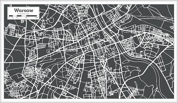 Warszawa polska mapa w stylu retro. ilustracja wektorowa. mapa przeglądowa.