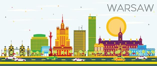 Warszawa skyline z kolorowymi budynkami i błękitnym niebem. ilustracja wektorowa. podróże służbowe i koncepcja turystyki z zabytkową architekturą. obraz banera prezentacji i witryny sieci web.