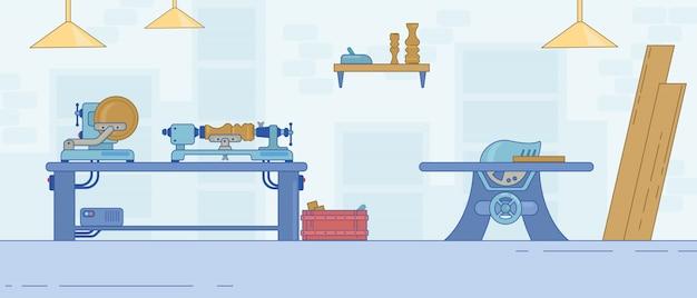 Warsztat stolarski z narzędziami i maszyną stolarską.
