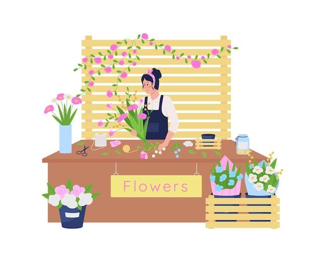 Warsztaty kwiatowe 2d. kwiaciarnia w pracy płaski charakter na kreskówce