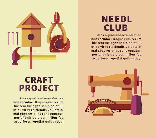 Warsztaty plastyczne i warsztaty rękodzielnicze płaski plakat instrumentów stolarskich i hafciarskich