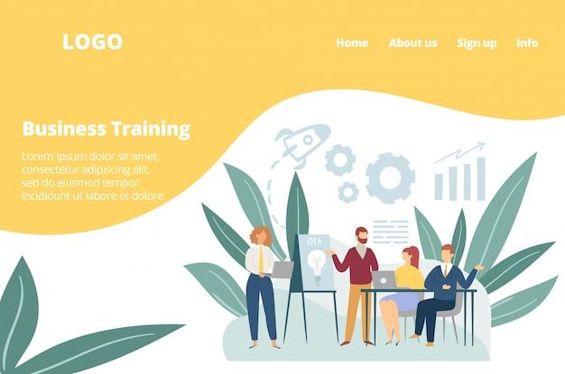 Warsztaty szkolenia biznesowego personelu biurowego, szablon sieci web spotkania zespołu.