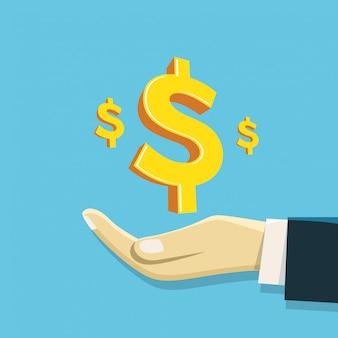 Wartość firmy ręka odbiera symbol dolara