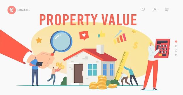 Wartość nieruchomości, szablon strony docelowej oceny. rzeczoznawcy postacie robią inspekcję domu. wycena nieruchomości, profesjonalna wycena domu z agentami. ilustracja wektorowa kreskówka ludzie
