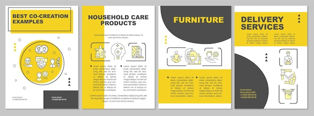 Wartość współpracy z klientami szablon broszury. ulotka, broszura, druk ulotek, projekt okładki z liniowymi ikonami. układy czasopism, raportów rocznych, plakatów reklamowych