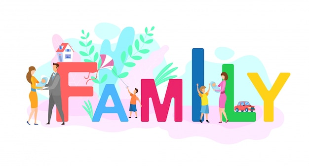 Wartości rodzinne płaskie kolorowe słowo