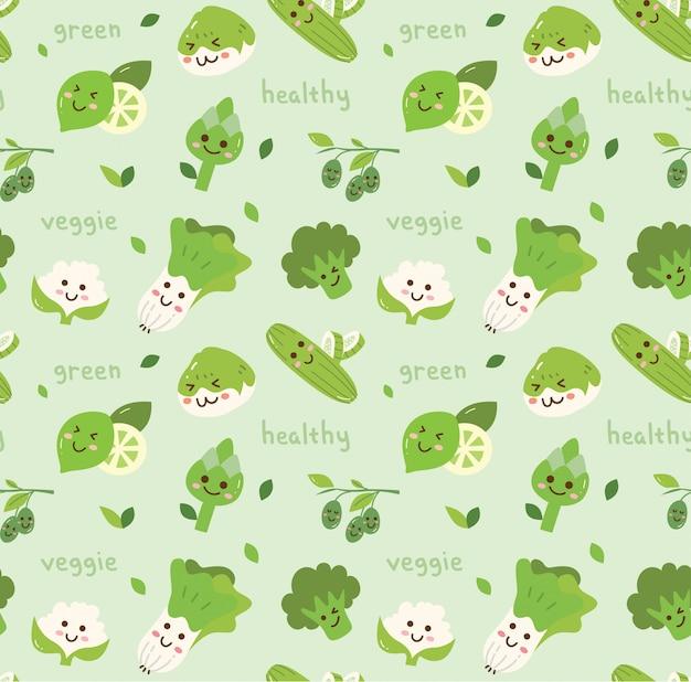 Warzywa bezszwowy tło w kawaii stylu
