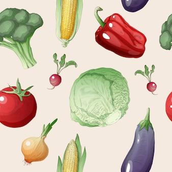 Warzywa bezszwowy wzór