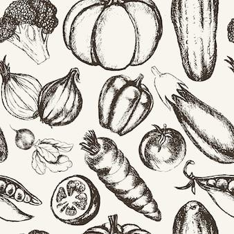 Warzywa - czarno-biały wektor ręcznie rysowane wzór. realistyczne brokuły, dynia, rzodkiewka, cebula, pomidor, bakłażan, papryka ogórek marchewka groszek
