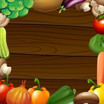 Warzywa graniczą na drewnianej ramie